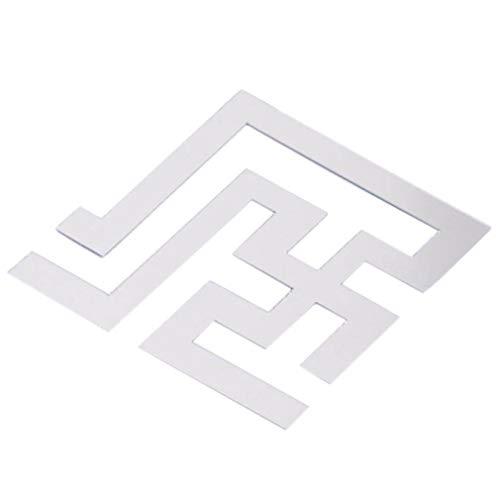 #N/A Sawyerda - Adhesivo decorativo para pared, diseño de bordes de cristal, color plateado