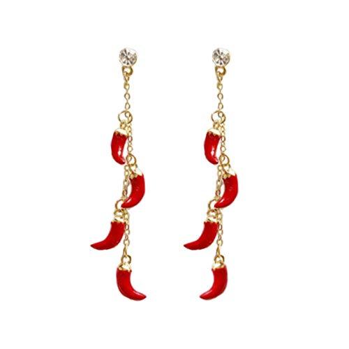 925 zilveren post rode hete peper oorbellen lange oorbellen vrouwen oorbellen
