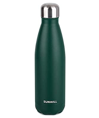 SUNWILL Insulated Stainless Steel Water Bottle Powder Coated Forest Green, Vacuum Double Wall Sports Water Bottle 17oz, Cola Shape Travel Thermal Flask