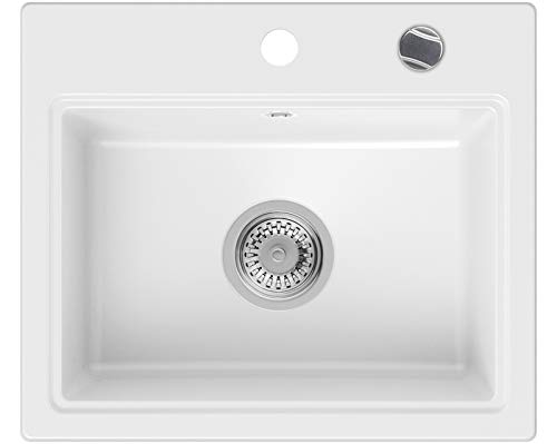 PRIMAGRAN Fregadero de Granito - Oslo, Lavabo Cocina Un Seno + Sifón Automático, Fregadero Empotrado 51 x 43,5 cm, Blanco