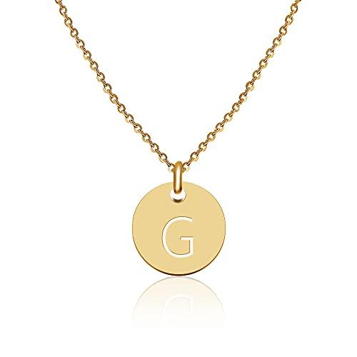 Good.Designs Collana di Lettere in Oro (Regolabile) Collana in Oro con Ciondolo a Lettera Rotonda (G)