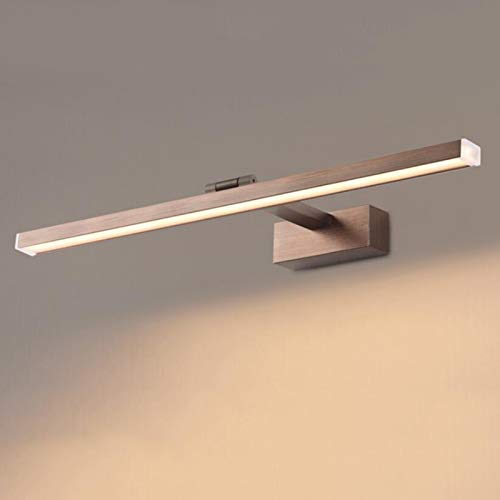 Luz LED para Espejo de baño, 12W, iluminación de Maquillaje, Neutral, Tres Colores, Ajustable, Espejo Negro, iluminación Frontal, luz del gabinete, Clase energética A,Marrón,120cm47.2inch22W