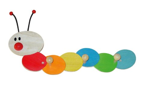 Bieco Garderobe Kinder Raupe | Kindergarderobe Holz mit Kinder Kleiderhaken | Garderoben-Leiste | Wandgarderobe | Kleiderhaken Kinder Garderoben | Garderobenleiste Kinder 38 cm 3 Haken