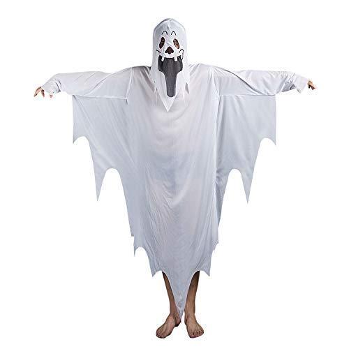 Disfraz de fantasma blanca para adulto o niño, con capucha, con máscara, vestido de cosplay, diablo, sombrero aterrador, abrigo de disfraz, zombie Taille Adulte 150