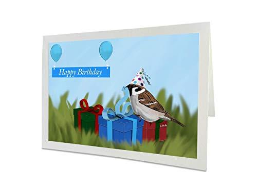 Gemalter Feldsperling packt Geschenke aus Geburtstagskarte Glückwunschkarte Grußkarte mit Umschlag