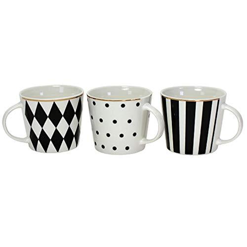 3er Set Porzellan Becher SCHWARZ weiß Service Geschirr Goldrand Kaffee Tasse Mug
