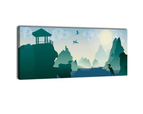wandmotiv24 Leinwandbild Panorama Nr. 125 chinesische Landschaft 100x40cm, Keilrahmenbild, Bild auf Leinwand, China Asien Fluss