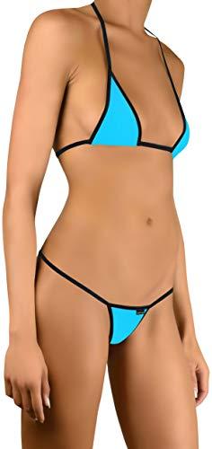 Sohimary 209 Damen Mini Bikini String Tanga XS S M 32 34 36 38 Blau