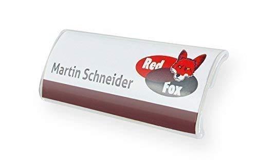 10 Stück Profil-Namensschild aus Acryl gewölbt mit starkem Magnet Größe: 75x27 mm Befestigung Name Badge Namensschilder für Kleidung, selbstbeschriftbar