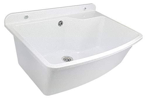 GOSPO Ausgussbecken, Waschbecken 61 cm x 44 cm x 23,5 cm, Waschtrog mit Überlauf und Siphon, Spülbecken inkl. Zubehör, stabiler Kunststoff, Waschraum 38 Liter Fass. (Weiß/Grau)