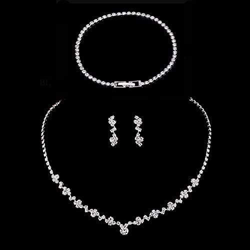 YUANBOO Juego De Joyas De Dama De Honor De Color Plateado Conjunto De Pendientes De Collar De Gangas De Cristal Conjunto De Pulsera para Mujer Conjunto De Joyas De Boda