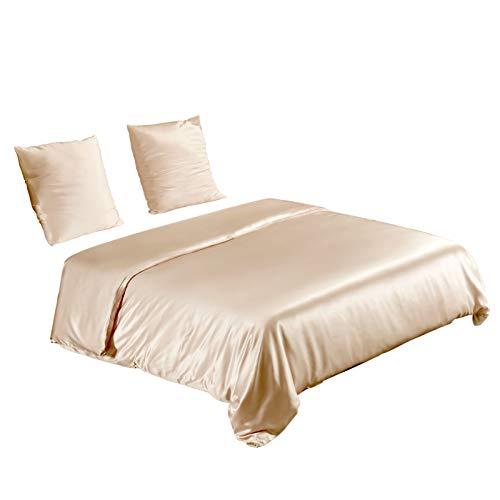 UMI. by Amazon - Seide Bettwäsche-Set 3 teilig Bettbezug 260x220cm Kissenbezüge 80x80cm, Hypoallergen 19 Momme Maulbeerseide Bettwäsche Champagner