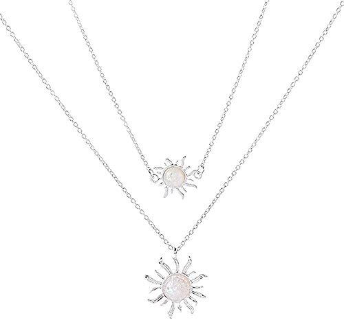 Preisvergleich Produktbild ZVBEP Halskette Sonnenblume Halskette Zweischichtige Halskette Boho Sun Opal Edelstein Anhänger Halskette für Frauen Mädchen Hochzeitsgeschenk Schmuck