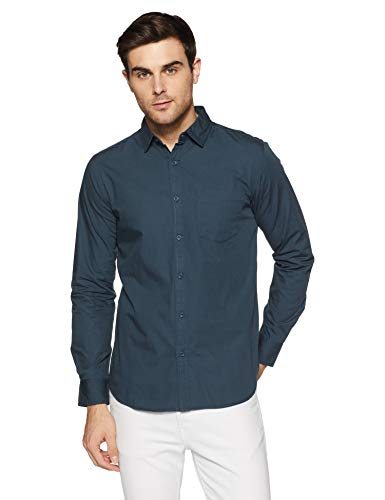 Amazon Brand – Symbol Men's Solid Regular Fit Full Sleeve Cotton Casual Shirt (AW-SY-MCS-1133_Petrol_Medium)