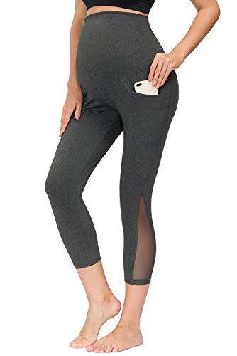 Maternity Mesh Capri Yoga Pants Workout Leggings Running Active Athletic Pants