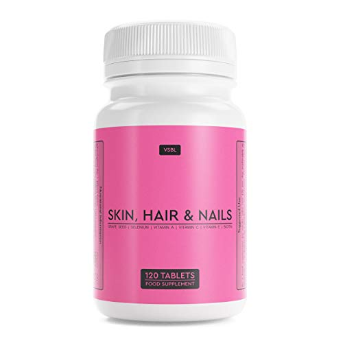 Skin, Hair & Nails | Grape Seed Extract + Selenium + Vitamins A, C & E + Biotin | 120 Food Supplement Tablets | Suitable for Vegetarians and Vegans
