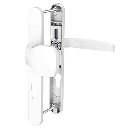 Dansta Schmalrahmengarnitur Schutzbeschlag Schildgarnitur Wechselgarnitur 92 mm - Drücker/Knopf - div. Farben (Weiß pulverbeschichtet)