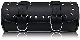 Pevor Motorcycle Bike Tool Bag Pouch PU Leather Roll Barrel Shape Side Bag Sundries Bag Handlebar Sissy Bar Tool Pouch (black)