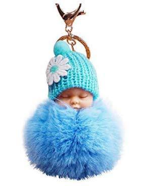Lsv-8 Accesorios para el pelo de muñeca, bola, llavero, bolsa de coche, muñeco de peluche colgante pequeño regalos (azul cielo)