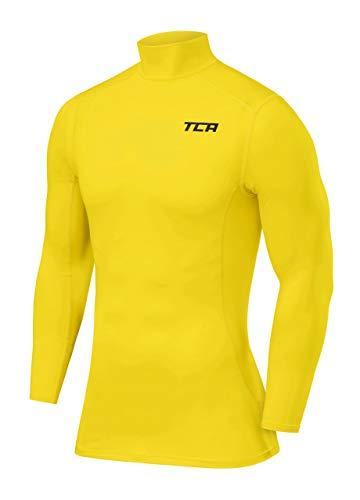 TCA Pro Performance Herren Funktionsshirt/Kompressionsshirt mit Stehkragen - Langarm - Sonic Yellow (Gelb), L