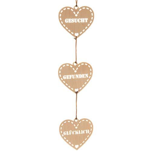 Spreukenband premium kwaliteit 100% emotioneel · decoratieve slinger hout · slinger met drie houten hartjes · krans voor bruiloft · huwelijksgeschenken · wanddecoratie · bruiloftsdecoratie · bruiloftsdecoratie Gezochte gevonden gelukkig