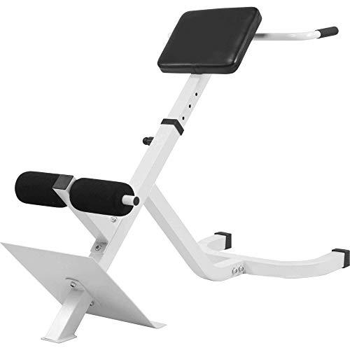 GORILLA SPORTS Rückentrainer verstellbar Hyperextension – Bauchtrainer Verstellbar mit Gepolsterter Beinfixierung Weiß