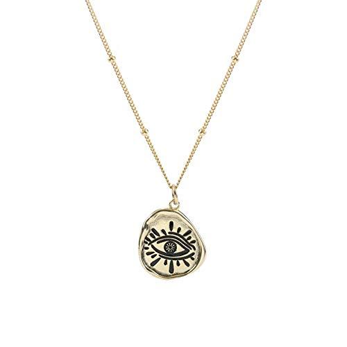 VAWAA Turco 925 esterlina Plata Mal Ojo Collar Cadena satélite Retro Medalla Moneda egipcia Ojo de Horus Collares y Colgantes Mujeres