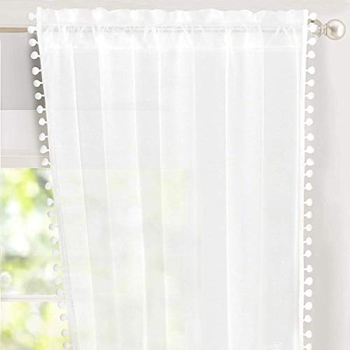 DriftAway Laura Pom Pom Trimmed White Voile Sheer Window Curtains Rod Pocket 2 Panels Each Size 52 Inch by 84 Inch Plus 2 Inch Header White