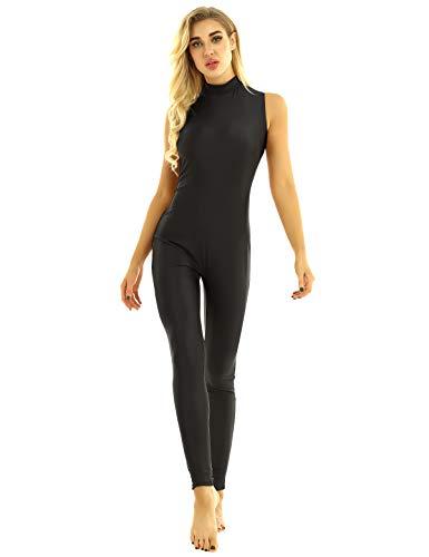 iiniim Mono Mujer Largo Traje de Baile Mono Deportivo Body de Yoga Danza Ballet Gimnasia Cuello Alto Unitard Bodycon Jumpsuit Negro Medium
