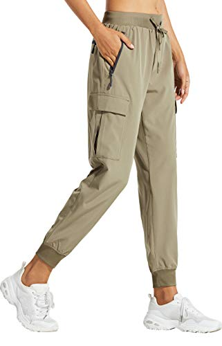 Libin Women's Cargo Joggers Lightweight Quick Dry Hiking Pants Athletic Workout Lounge Casual Outdoor, Khaki L