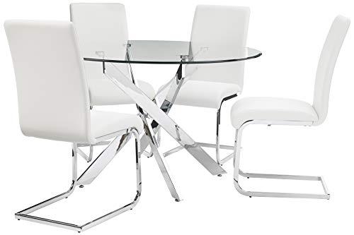 Best Master Furniture Mirage 5 Pcs Glass Top Modern Dining Set, White