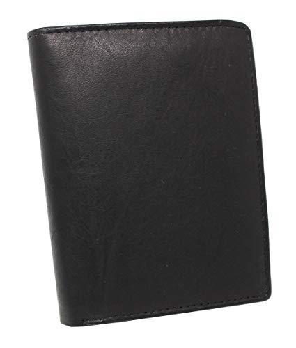 Herren Portemonnaie aus weichem echtem Leder im Hochformat robuste Geldbörse Ledergeldbörse Geldbeutel Schwarz 5600 (Schwarz)