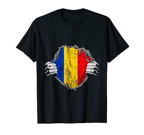 Rumäne Brust Romania Rumänien Liebe Rumänische Flagge T-Shirt