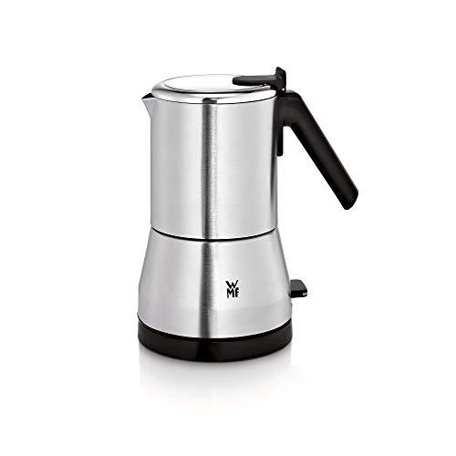 WMF Küchenminis Edition - Cafetera italiana (400 W, eléctrica, para 2 o 4 tazas, ahorra espacio, cromargan) mate/plata