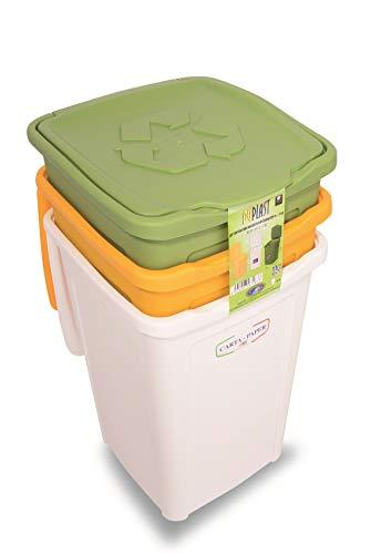7463 50L  Cubo de basura para reciclaje diferenciado, rectangular, colores verde, blanco y amarillo, 50 L, 370 mm, 370 mm, 530 mm, conjunto de 3 piezas