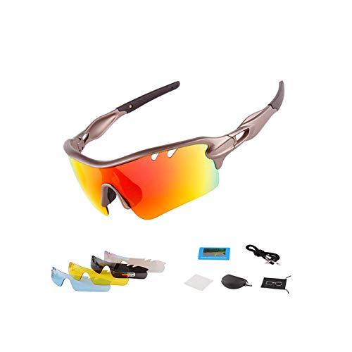 Gafas Sol Polarizadas Hombre Mujer Gafas de Sol Deportivas UV 400 Protección Gafas con 5 Rodajas De Lentes Intercambiables para Ciclismo Correr Golf Beisbol Surf Conducción Esquiando