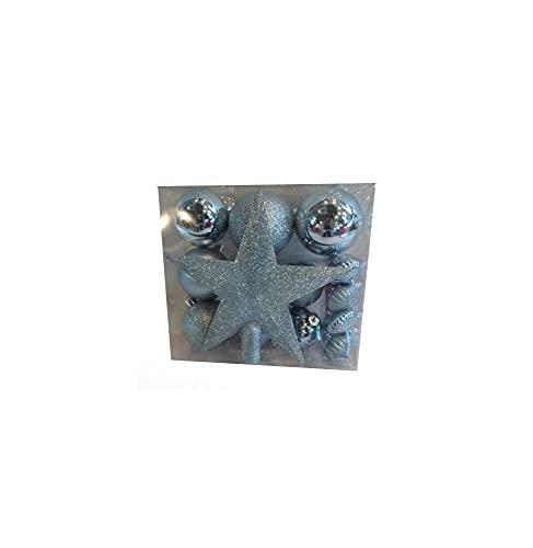 AC-Déco Kit 18 Décorations De Sapin - Boule Et Cimier - Bleu Pale