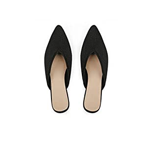 Slocyclub Flat Mules for Women, Closed Pointed Toe Flat Loafers for Ladies, Slip-On Backless Mule Sandals, Comfortable Knitted Slide Mules Shoes Black