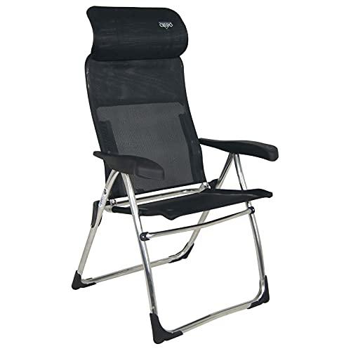 Crespo Garten Stuhl AL 215 Compact Camping Klappstuhl Liege Sessel Alu Faltbar schwarz