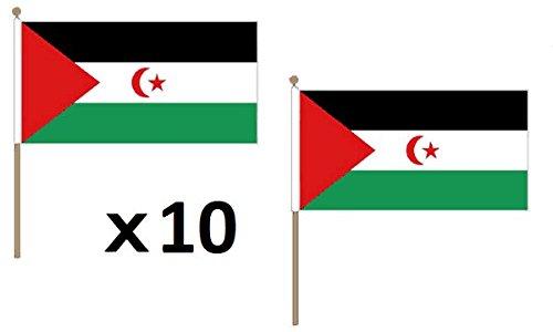 AZ FLAG Bandera de Sahara Occidental 45x30cm con Palo de Madera - Lote de 10 Bandera REPÚBLICA ÁRABE SAHARAUI DEMOCRÁTICA 30 x 45 cm
