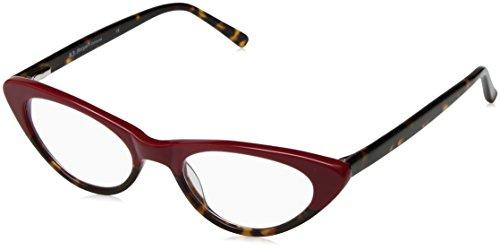 A.J. Morgan Women's Fifi - Power 2.00 69142 Rectangular Reading Glasses, Red/Tortoise, 49 mm
