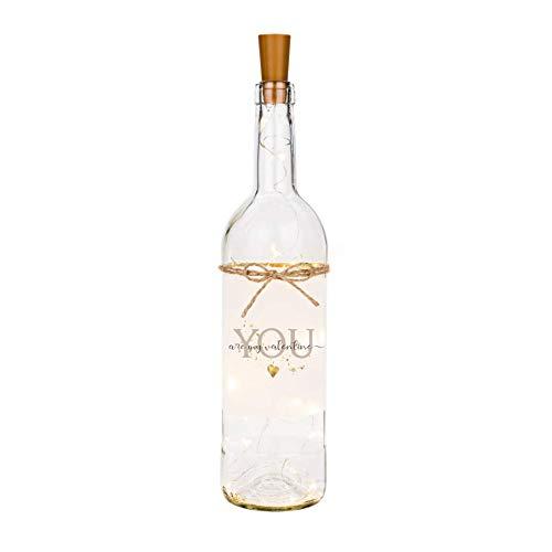 Manufaktur Liebevoll Vela en forma de botella con texto en inglés 'Ich liebe Dich und Flaschenlicht You are my valentine'