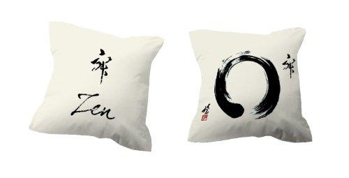 TSUKI Cojín con relleno ZEN beige/negro 60 x 60 cm Zen/Chillout