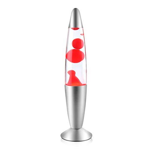 Klarlight Lavalampe 34cm Magmalampe Lavaleuchte 25W mit Kabelschalter Geschenkidee Weihnachten inklusive Leuchtmittel Retro Leuchte (Rot)