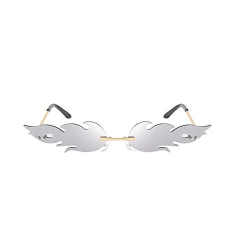 NUOBESTY Occhiali a Forma di Fuoco Occhiali a Forma di Fiamma Occhiali da Vista Occhiali Favori per Foto Puntelli Cosplay Vestire Costume Argento
