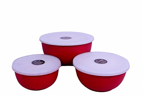 Parag- Euro Microwave Safe Bowl Set with Gift Box (Set of 3) Red
