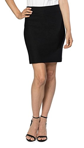Velucci Womens Stretchable Mini Pencil Skirt - Above The Knee 19' Length Classic Skirt, Black-M