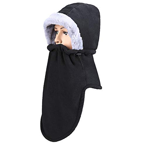 フード ネックウォーマー 帽子 防寒 フェイスウォーマー フェイスマスク 目出し帽 ネックマスク フリース 厚手 冬 アウトドア 自転車 調整可能 男女兼用 ブラック