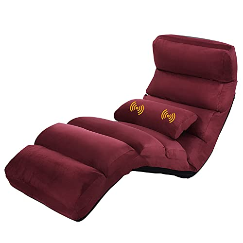 COSTWAY Folding Floor Sofa, 5 Positions Adjustable Single Lounger Sleeper Chair Seat with Massage Pillow, Home Office Living Room Bedroom Lazy Sofa Bed (Burgundy)