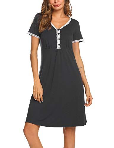 MAXMODA Damen Umstandskleid Umstandsnachthemd Stillnachthemd Nachthemden für Schwangere und Stillzeit Pflege Nachthemd zum Stillen Nachtwäsche mit Kurzarm